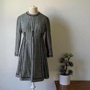 60s quarter sleeve wool  dress w/lining